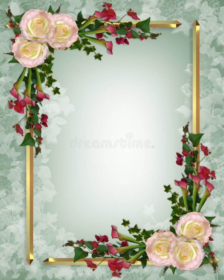 Floreale elegante dell'invito di cerimonia nuziale illustrazione di stock
