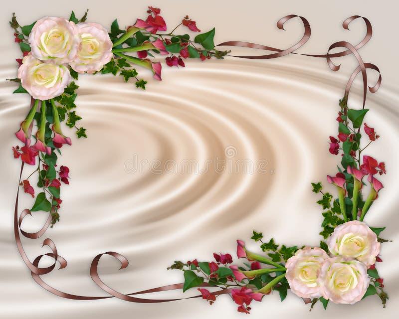 Floreale elegante dell'invito di cerimonia nuziale illustrazione vettoriale