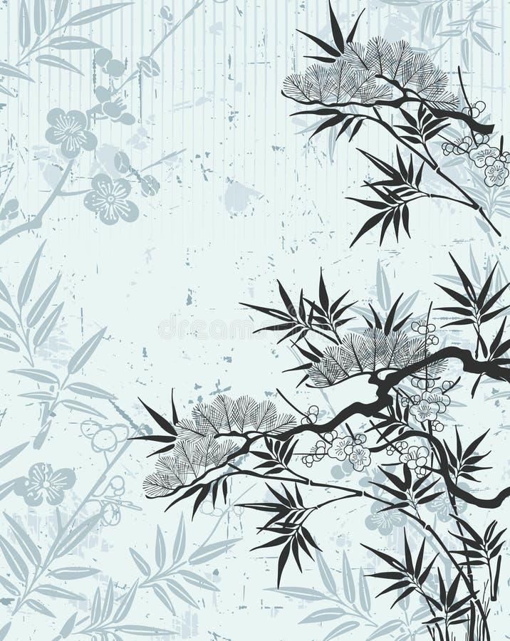 Floreale giapponese illustrazione di stock