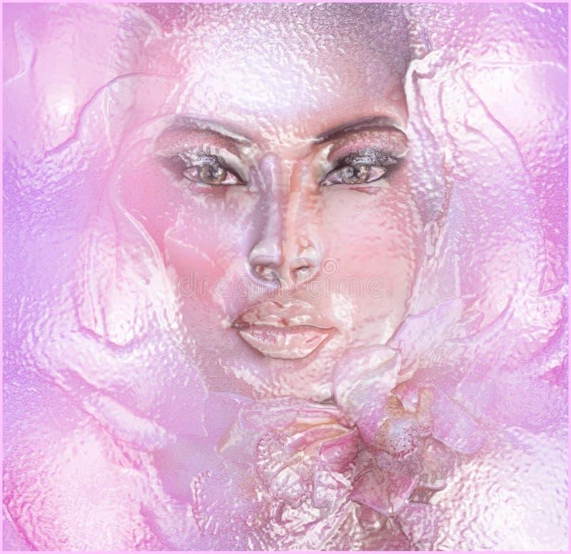 Floreale rosa astratto con il fronte della donna illustrazione di stock