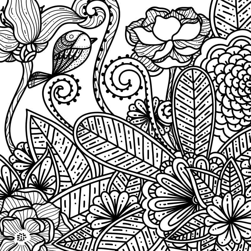 Floreali disegnati a mano ed i fiori scarabocchiano per l'anti libro da colorare degli adulti di sforzo illustrazione vettoriale