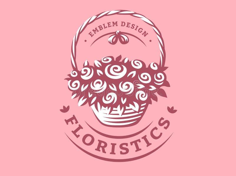 Florece el logotipo de la cesta - vector el ejemplo, emblema en fondo rosado stock de ilustración