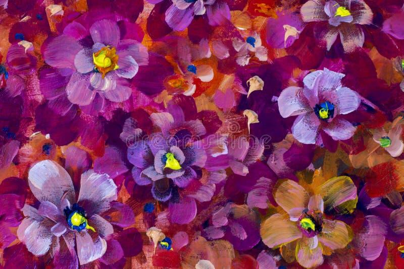 Florece el pensamiento, pintura al óleo violeta de la textura Fondo pintado a mano abstracto de las flores libre illustration