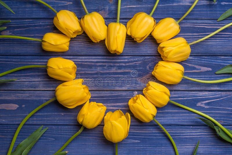 Florece el ramo amarillo de los tulipanes en backgraund azul imágenes de archivo libres de regalías