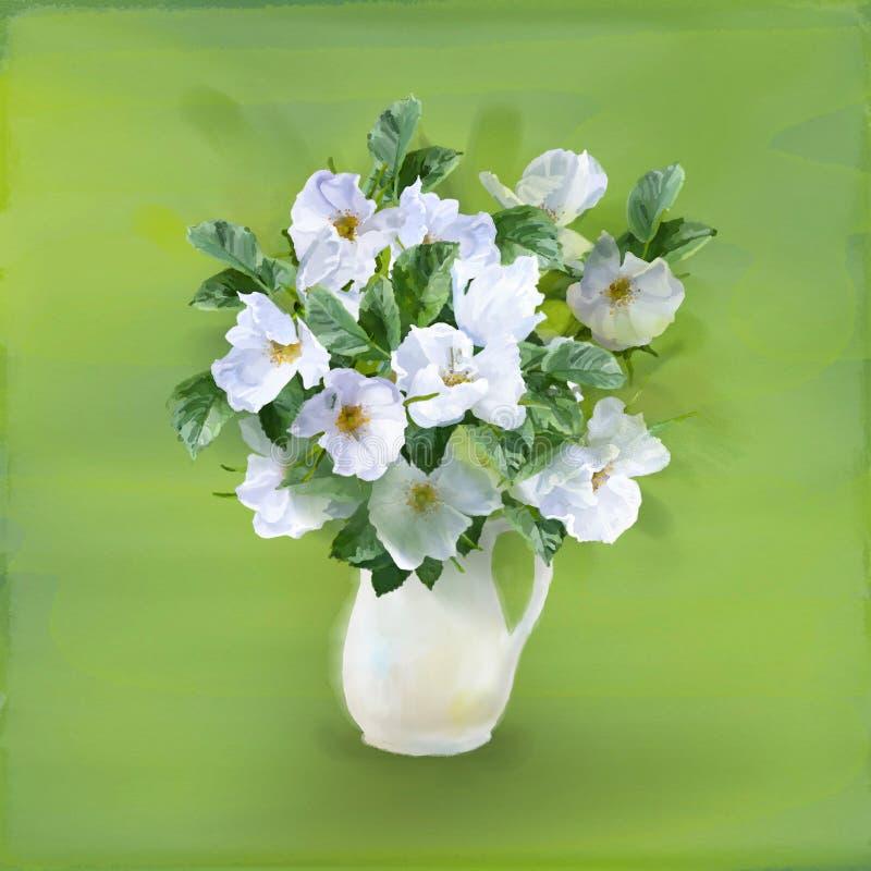Florece el ramo en florero stock de ilustración