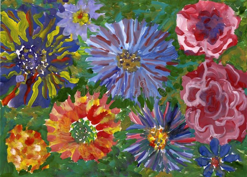 Florece la pintura de la gouache stock de ilustración