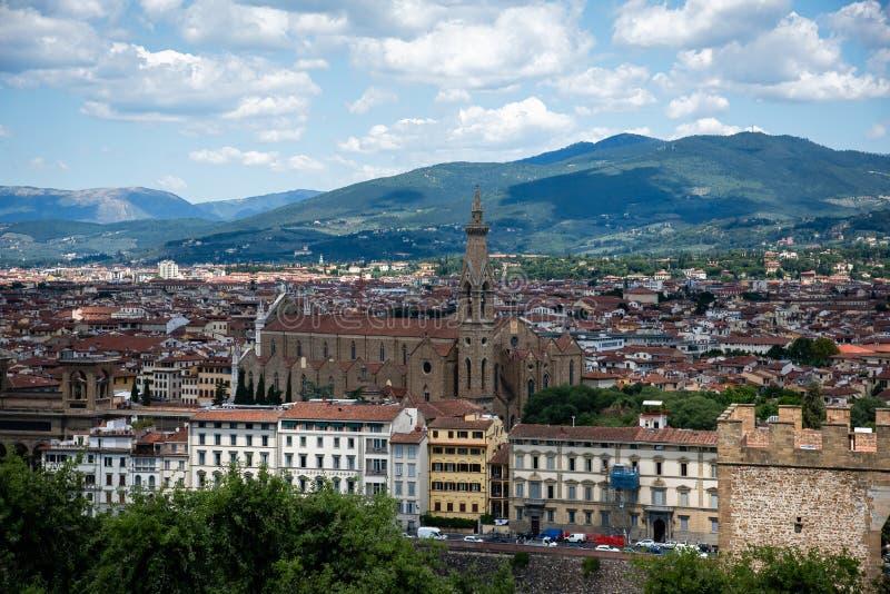 Florença do centro, vista superior, Toscânia, Itália fotografia de stock