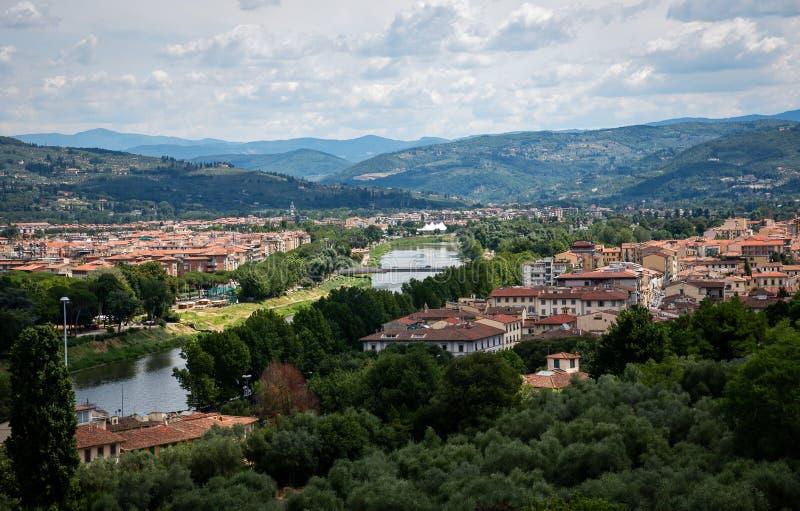 Florença do centro, vista superior, Toscânia, Itália imagem de stock