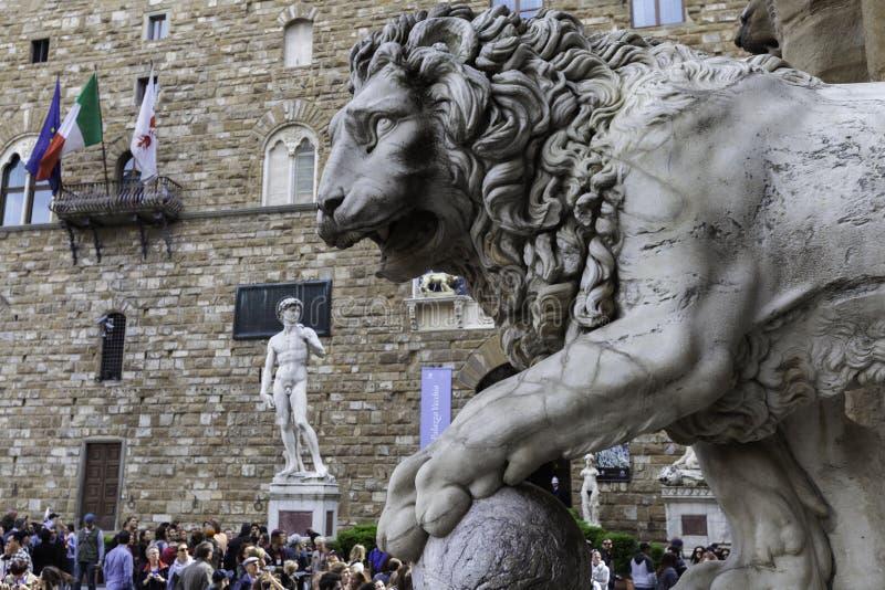 Florença, lugar de SIGNORIA COM DAVID imagens de stock