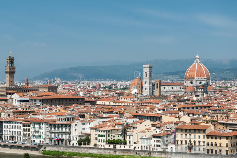 Florence aerial cityscape, Tuscany, Italy stock photography