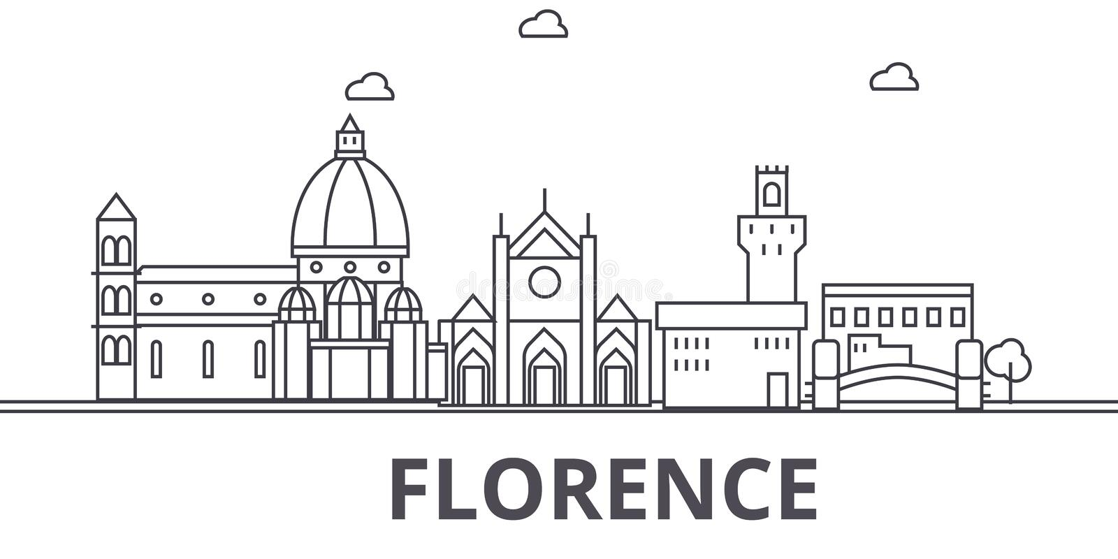 Florence architecture line skyline illustration. Linear vector cityscape with famous landmarks, city sights, design. Icons. Editable strokes royalty free illustration