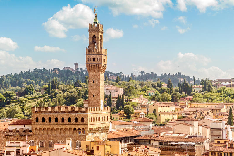 Florence avec Palazzo Vecchio (Toscane, Italie) images stock