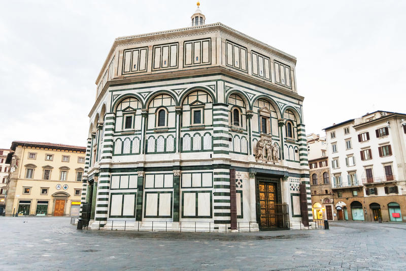 Florence Baptistery on Piazza San Giovanni. Travel to Italy - Florence Baptistery Battistero di San Giovanni, Baptistery of Saint John on Piazza San Giovanni in stock photos