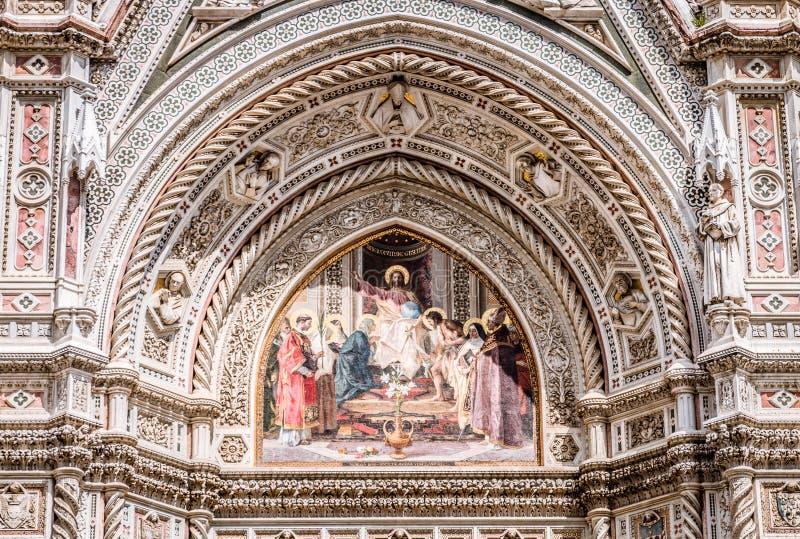 Florence Cathedral Facade Jesus Mosaic Duomodomkyrka Florence, Tuscany, Italien royaltyfria foton