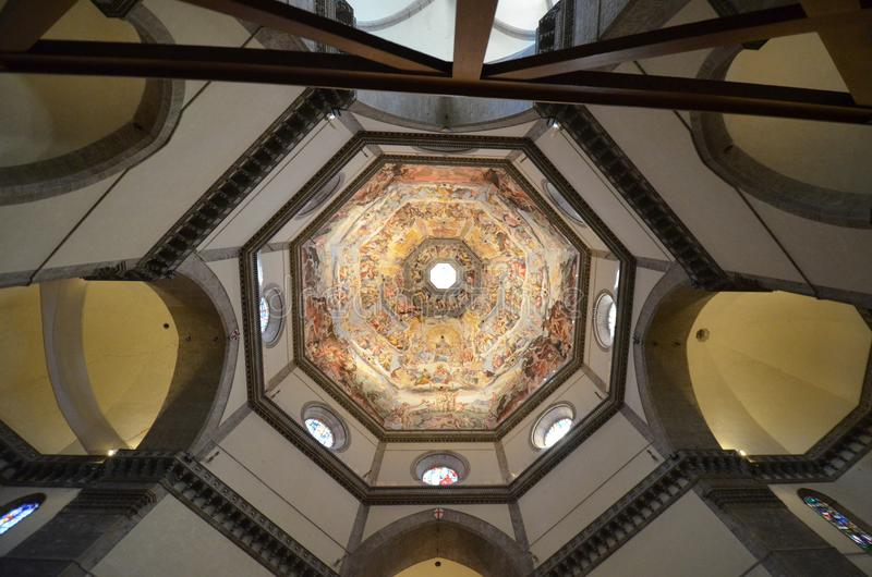 Florence Cathedral, Florence, ceiling, dome, architecture, symmetry. Florence Cathedral, Florence is ceiling, symmetry and glass. That marvel has dome stock images