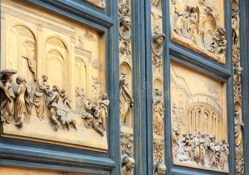 Florence Cathedral Gates av paradisfragmentet, Tuscany, Italien arkivbild
