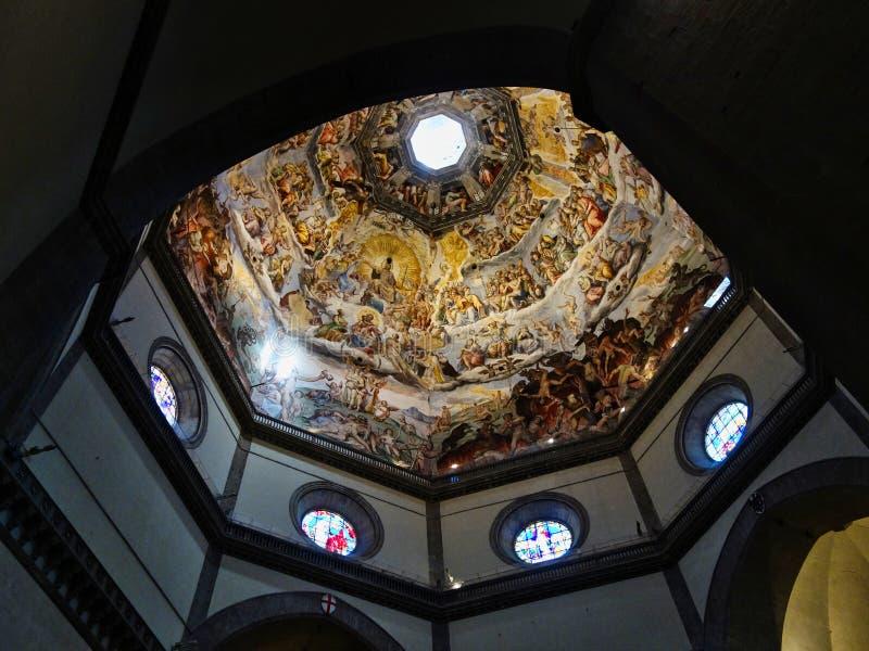Florence Cathedral, interior da abóbada de Brunelleschi, Itália imagem de stock royalty free