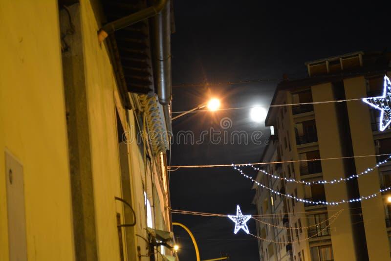 Florence Christmas stads- ljus royaltyfri fotografi