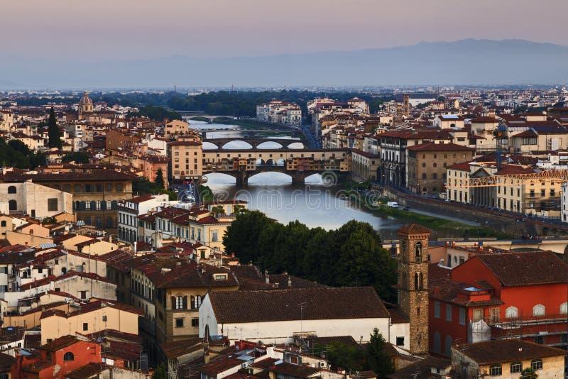 Florence City Bridges Rise royalty-vrije stock afbeeldingen