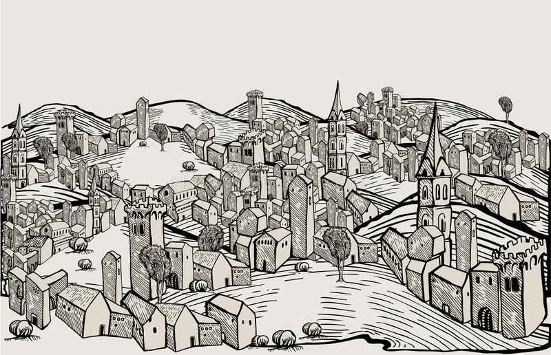 Florence city-drawing. Black and white
