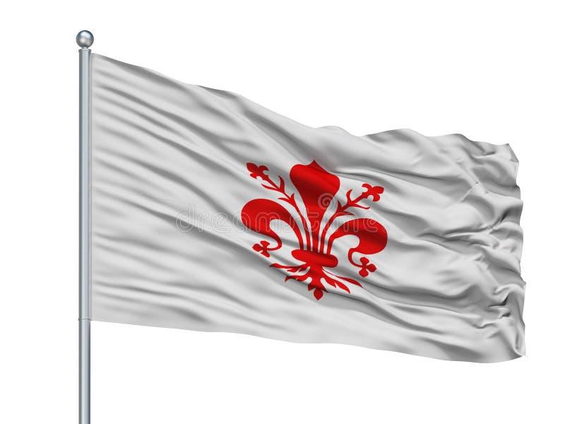 Florence City Flag On Flagpole, Italia, aislada en el fondo blanco ilustración del vector
