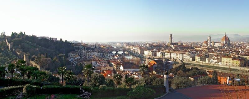 Florence City Panorama in der Dämmerung stockbild