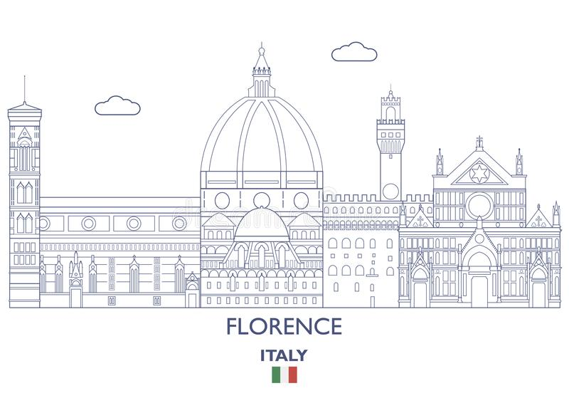 Florence City Skyline, Italië stock illustratie