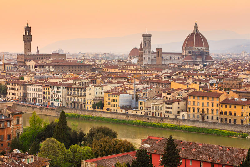 Florence city during sunset royalty free stock images