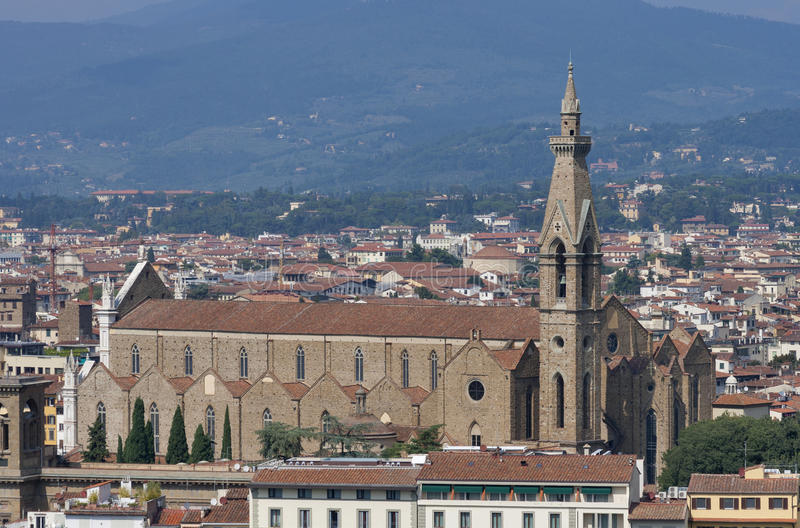 Italian Florence: Florence Cityscape With Jewish Temple In The Fog Stock