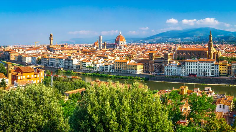 Florence cityscape. Beautiful view on Firenze, Italy. Amazing view from Michelangelo park square on Florence Palazzo Vecchio and. Duomo Cathedral. Tuscany royalty free stock images