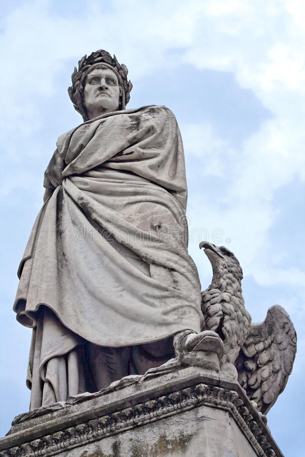 Florence Dante Alighieri Statue royalty free stock photo