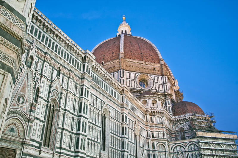 Florence Dome of the Duomo Main Chatedral at dusk stock photos