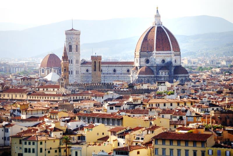 Florence domkyrkapanoramautsikt, Firenze, Tuscany, Italien royaltyfri bild