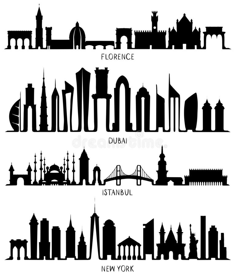 Florence, Dubai, New York och Istanbul konturer stock illustrationer