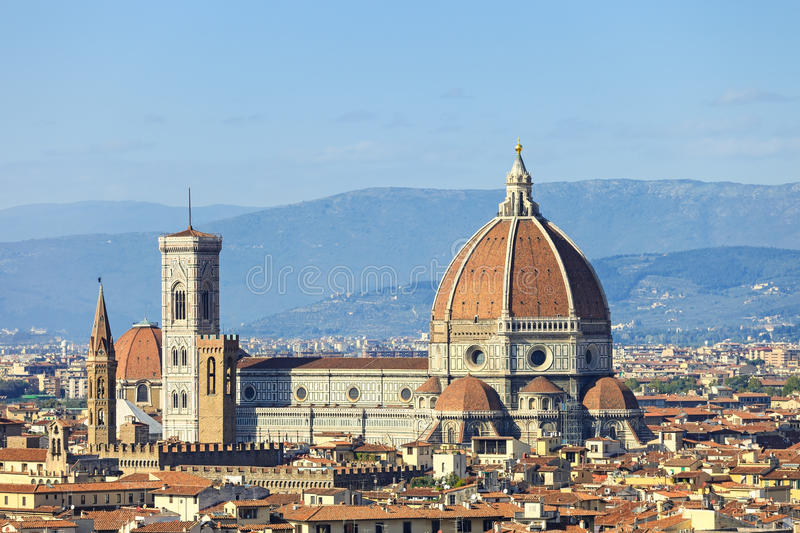Florence, Duomo Cathedral landmark. Panorama view from Michelangelo park. Italy royalty free stock photo