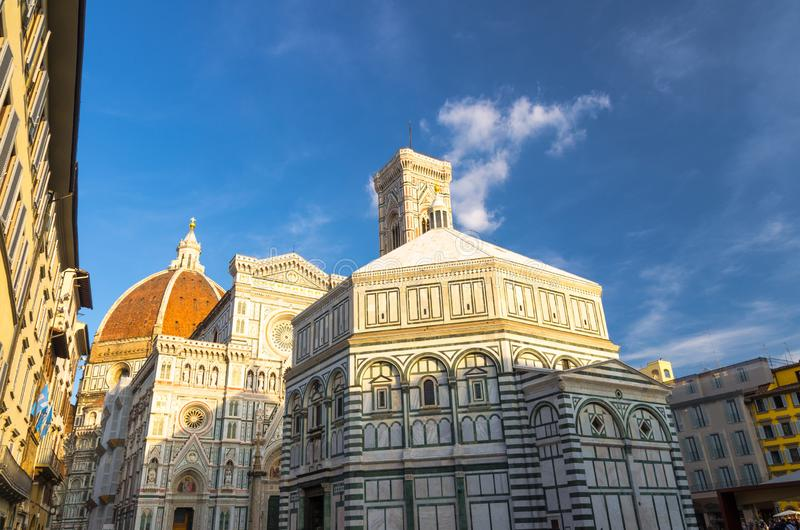 Florence Duomo, Cattedrale di Santa Maria del Fiore, Basilica of Saint Mary of the Flower Cathedral with bell tower royalty free stock photos