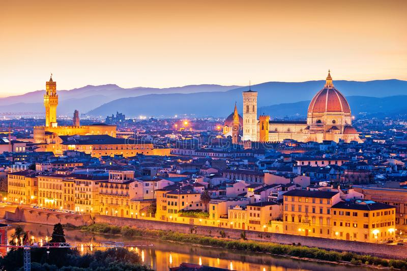 Florence Duomo and cityscape panoramic evening sunset view royalty free stock photos