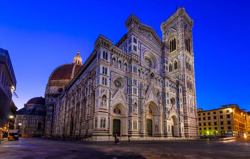Florence Duomo (Duomo di Firenze) and and Giotto s Campanile of the Florence Cathedral in Florence, Italy stock images