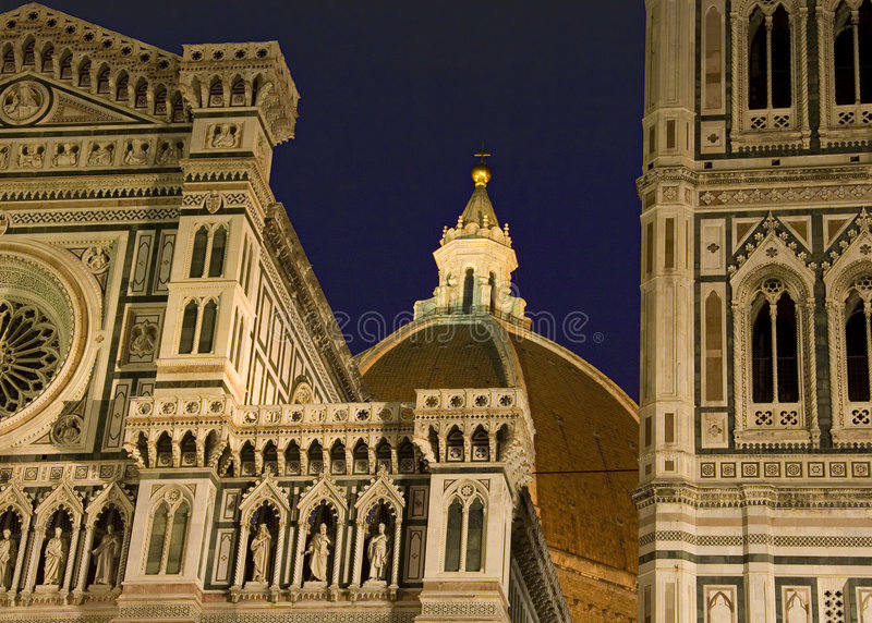 Florence duomo noc fotografia stock