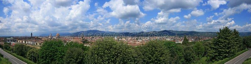 Florence with Duomo, Palazzo Vecchio and Santa Cro stock photo