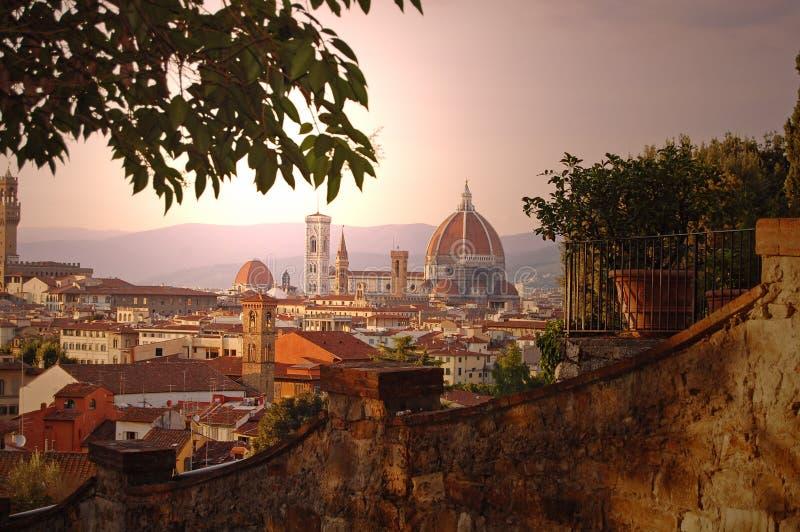 Florence Duomo van Piazzale Michelangelo royalty-vrije stock afbeelding