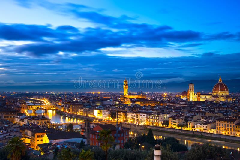 Florence or Firenze sunset aerial cityscape. Panorama view from stock image