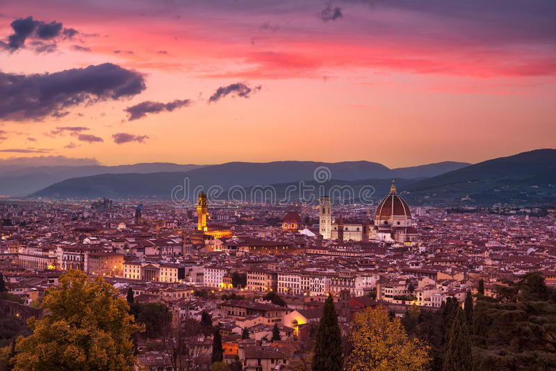 Florence or Firenze sunset aerial cityscape.Tuscany, Italy. Florence or Firenze sunset aerial cityscape. Palazzo Vecchio and Duomo Cathedral. Tuscany, Italy royalty free stock image