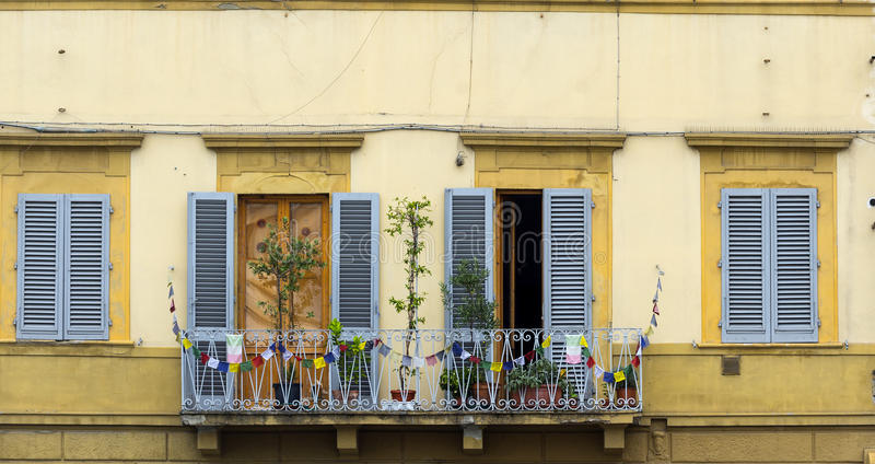 Florence (Firenze). Florence (Firenze, Tuscany, Italy): windows of historic buildings royalty free stock photography