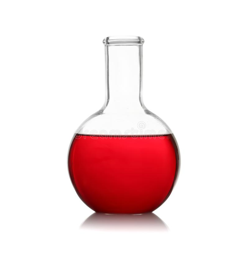 Florence flask with red liquid on background. Laboratory glassware stock photo