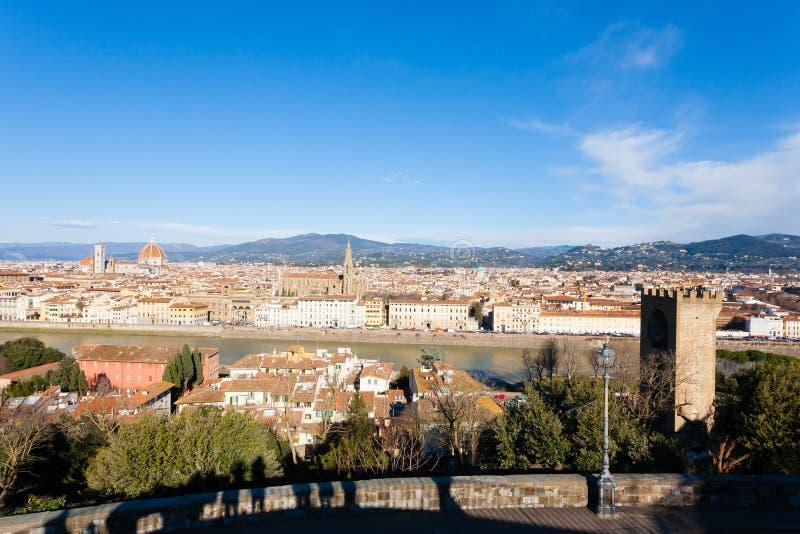 Florence flyg- sikt, tuscany, Italien arkivfoton