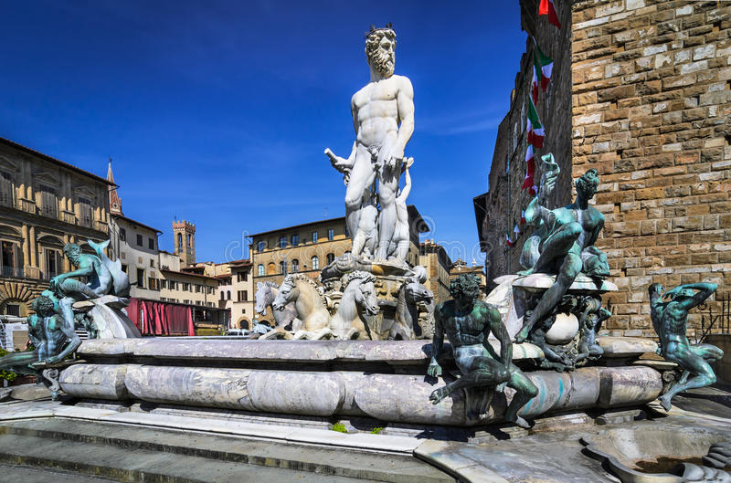 Florence, Fountain of Neptune. Fountain of Neptune is a fountain in Florence, Italy, situated on the Piazza della Signoria in front of the Palazzo Vecchio royalty free stock photos