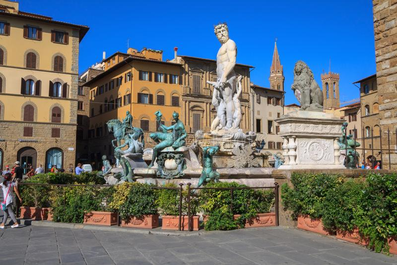 Florence Fountain van Neptunus in Piazza della Signoria stock afbeelding
