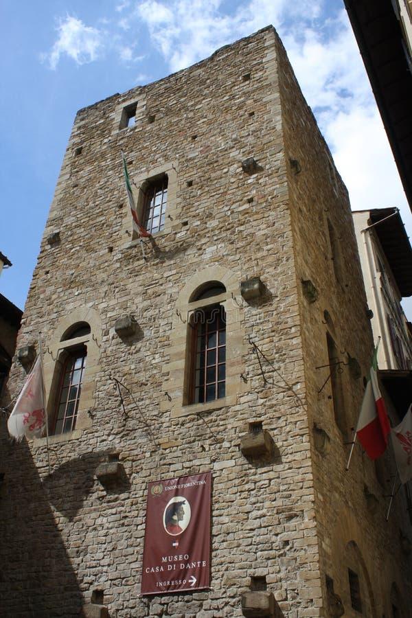 Florence, Italië: kan 3 2017 - Florence, middeleeuwse erfenisstad in centraal Italië - het zogenaamde `-huis van Dante Alighieri  stock afbeelding