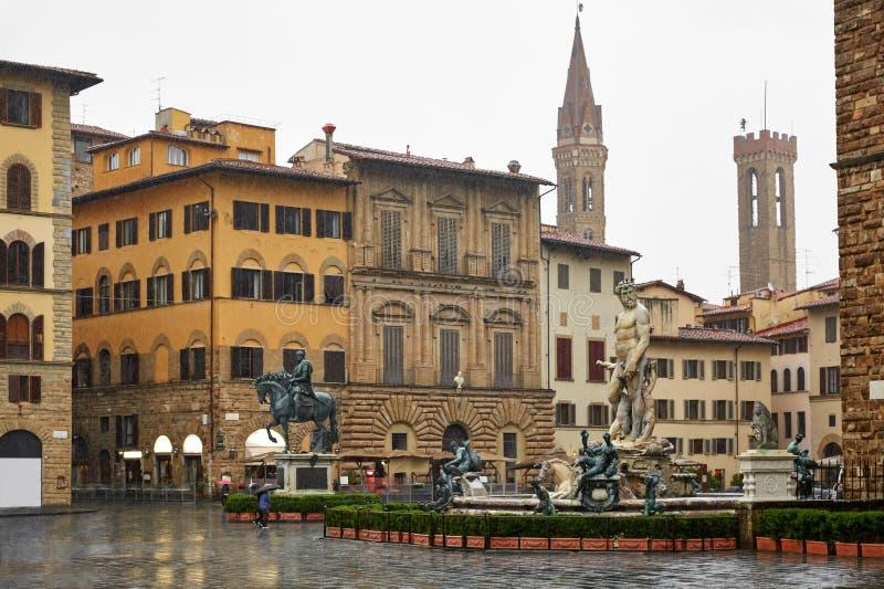 Florence Italia Piazza della Signoria con vista fotografia stock